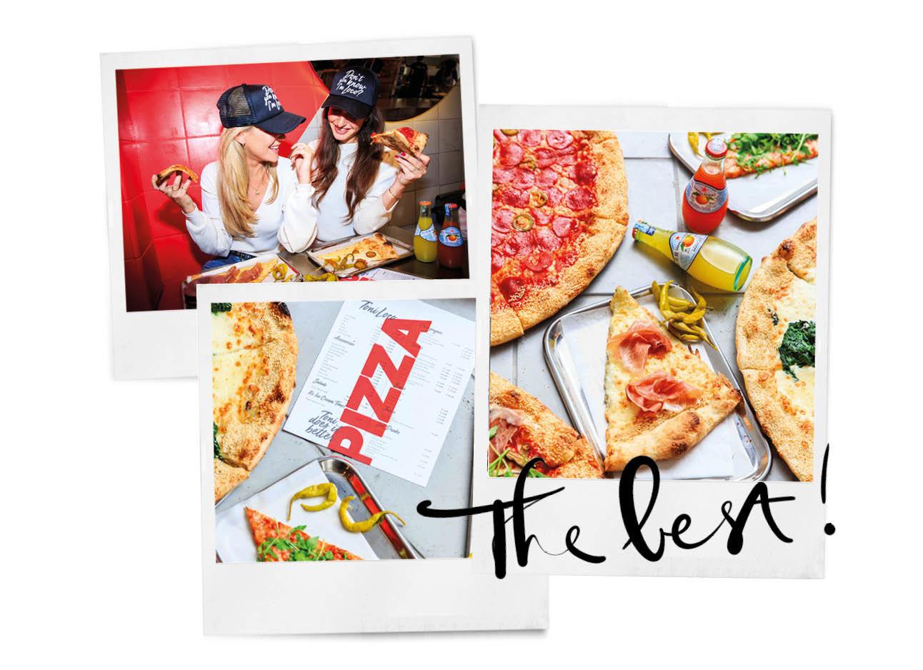 twee meisjes met een pet op in een restaurant eten pizza stukken van Toni Loco stukken pizza op een tafel menu kaart pizza san pellegrino drankejs flesjes