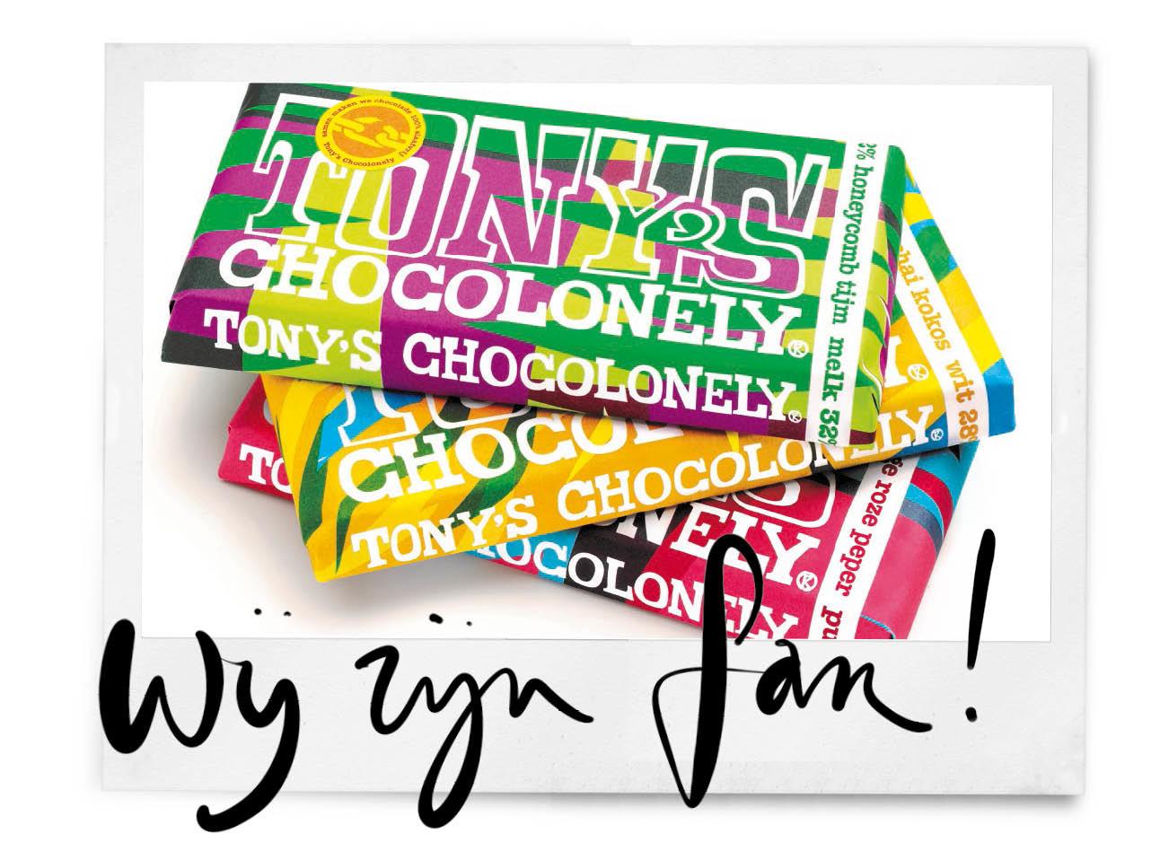 Op de foto staan de 3 nieuwe smaken van tony chocolony