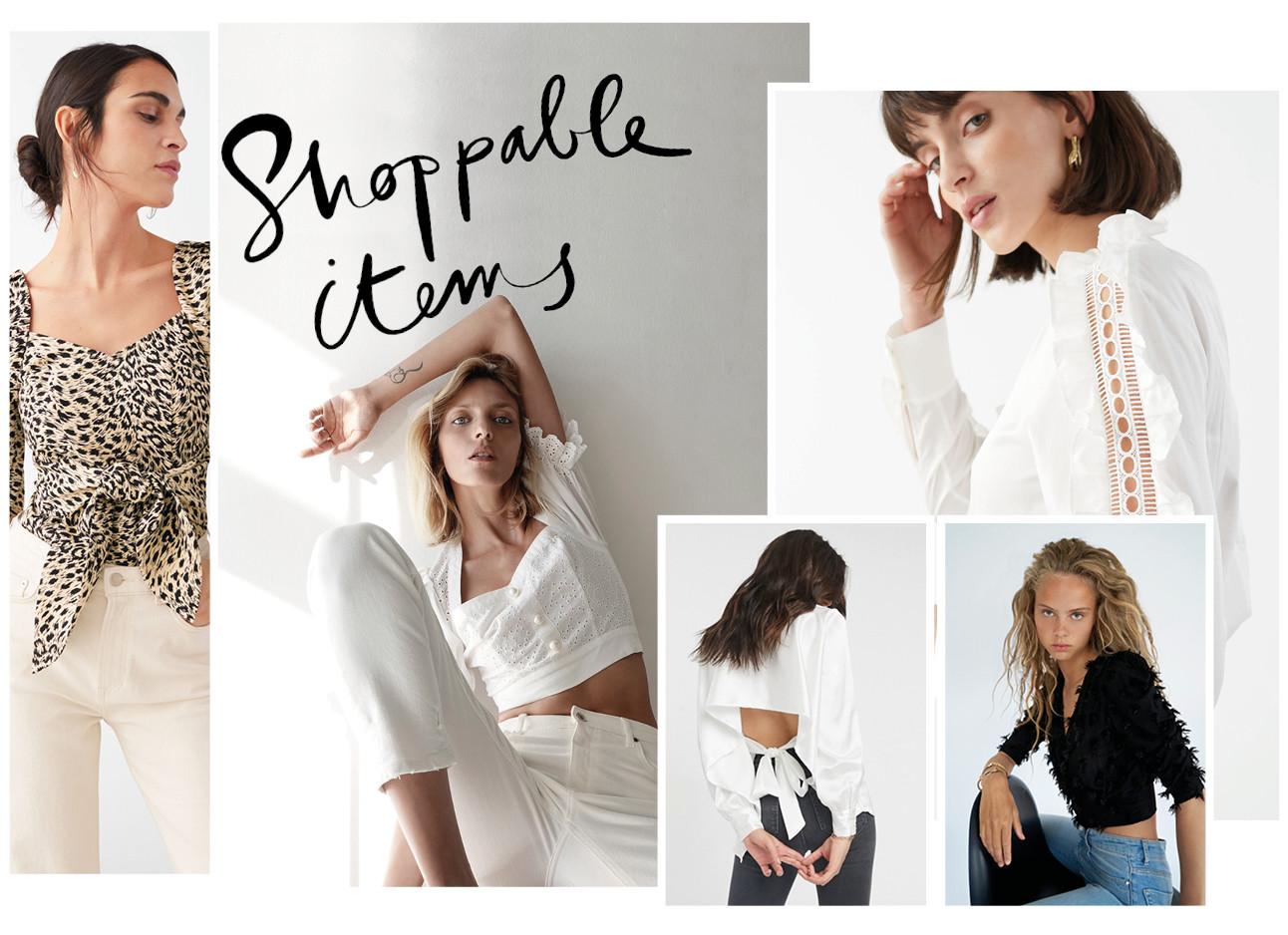 tops shopping modellen poseren met zomerse tops