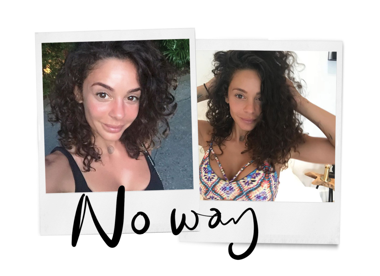 fajah lourens, schrijfster van my killer body motivation, donkere krullen, bikini, no way
