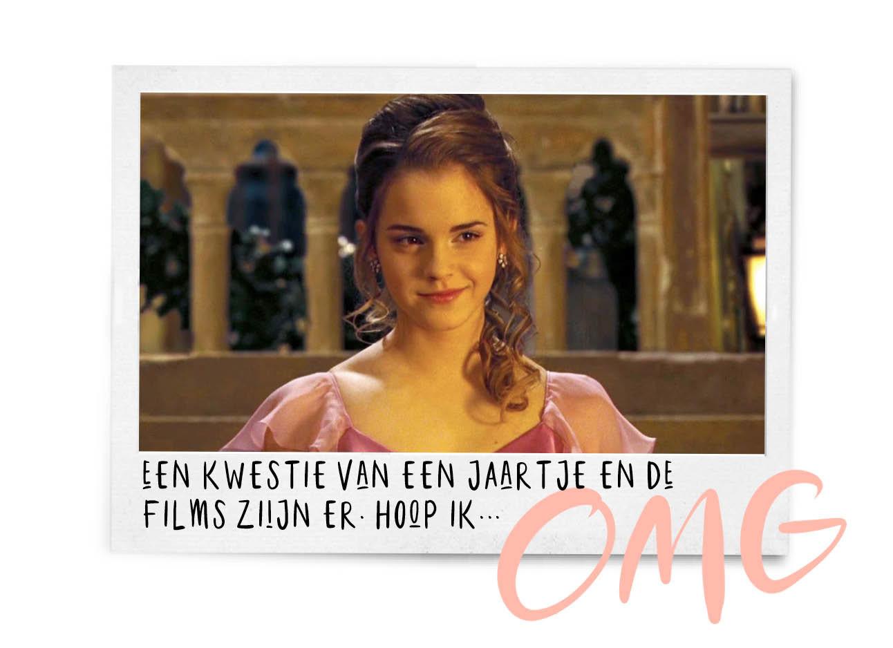 hermione in een roze jurk