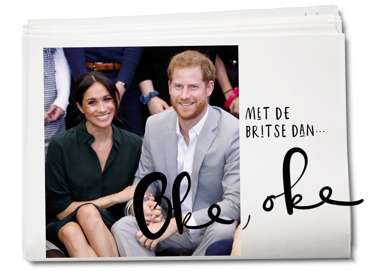 Meghan Markle en prins harry lachend naast elkaar zitten