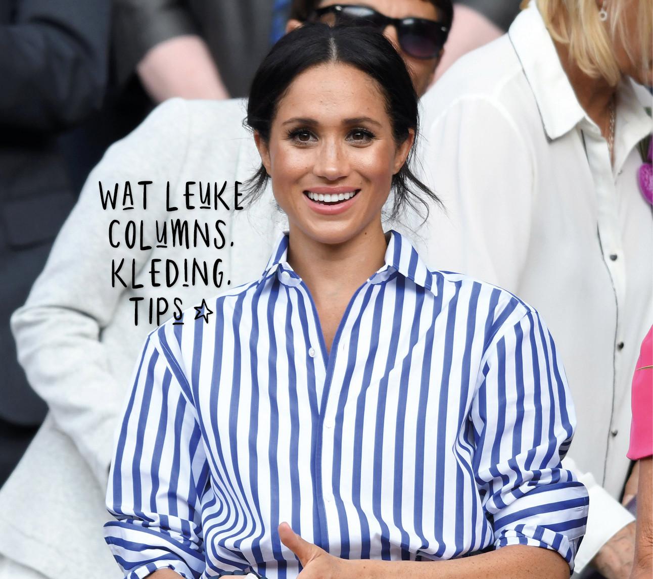 Meghan markle lachend met een streepjes overhemd aan