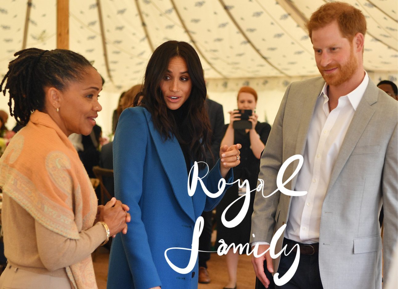 meghan markle, prins harry en meghan's moeder, royal family