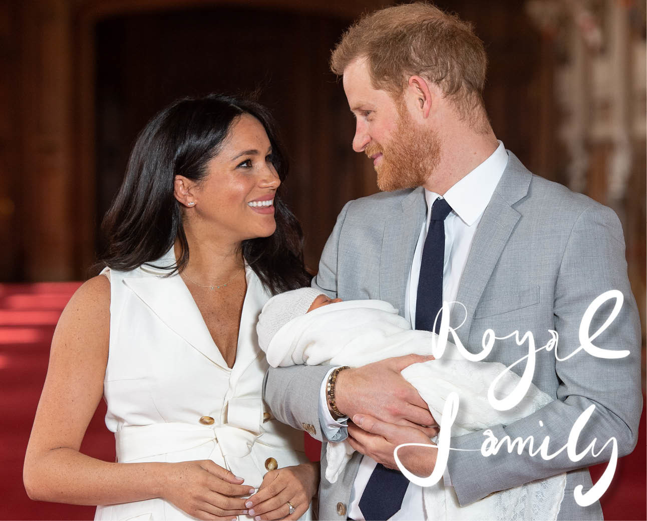 duke en duchess of sussex met hun pas geboren baby archie