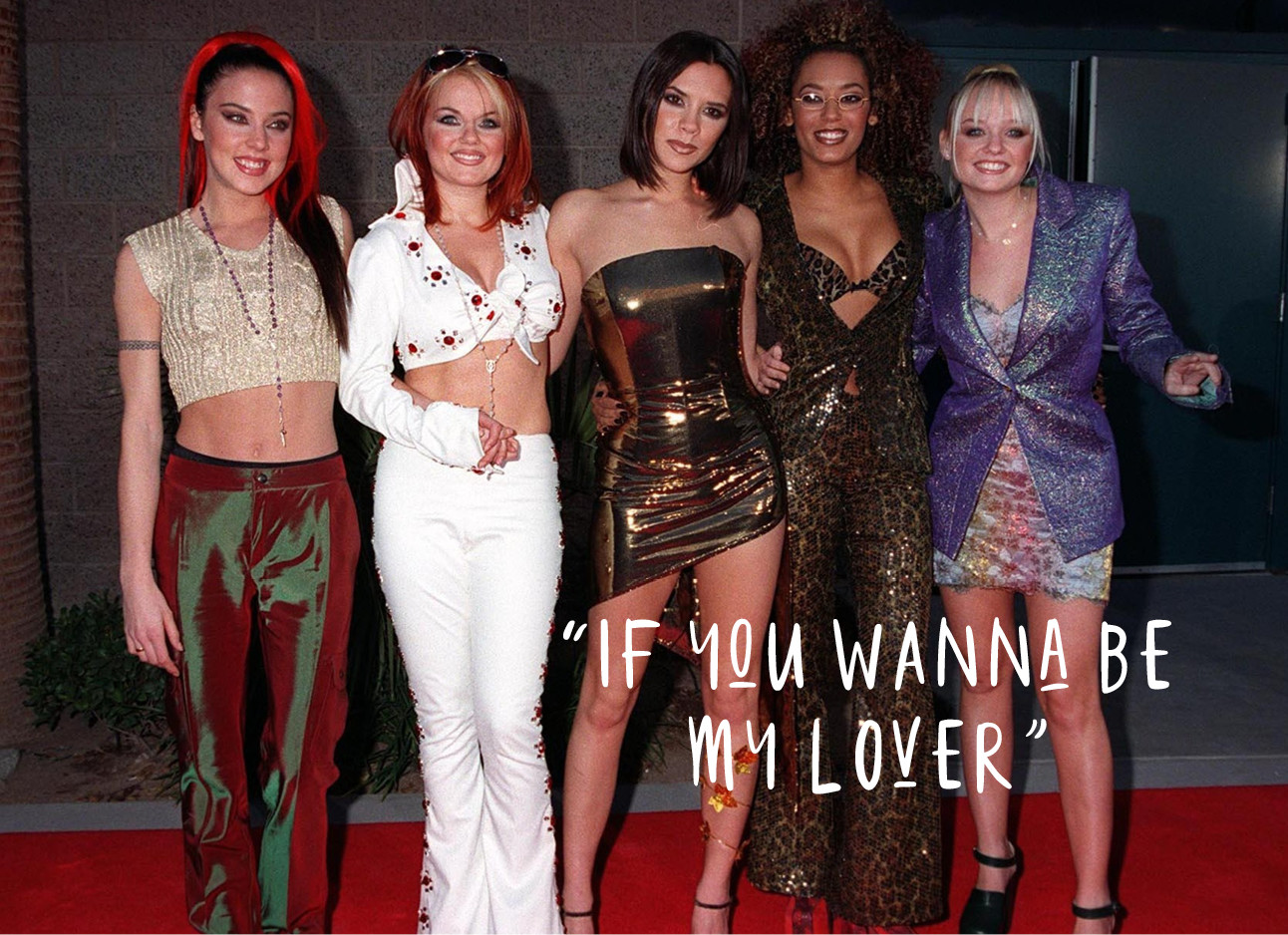 girlband the spice girls, mel b, mel c, victoria beckham, geri halliwel en emma bunton, op de rode loper if you wanna be my lover
