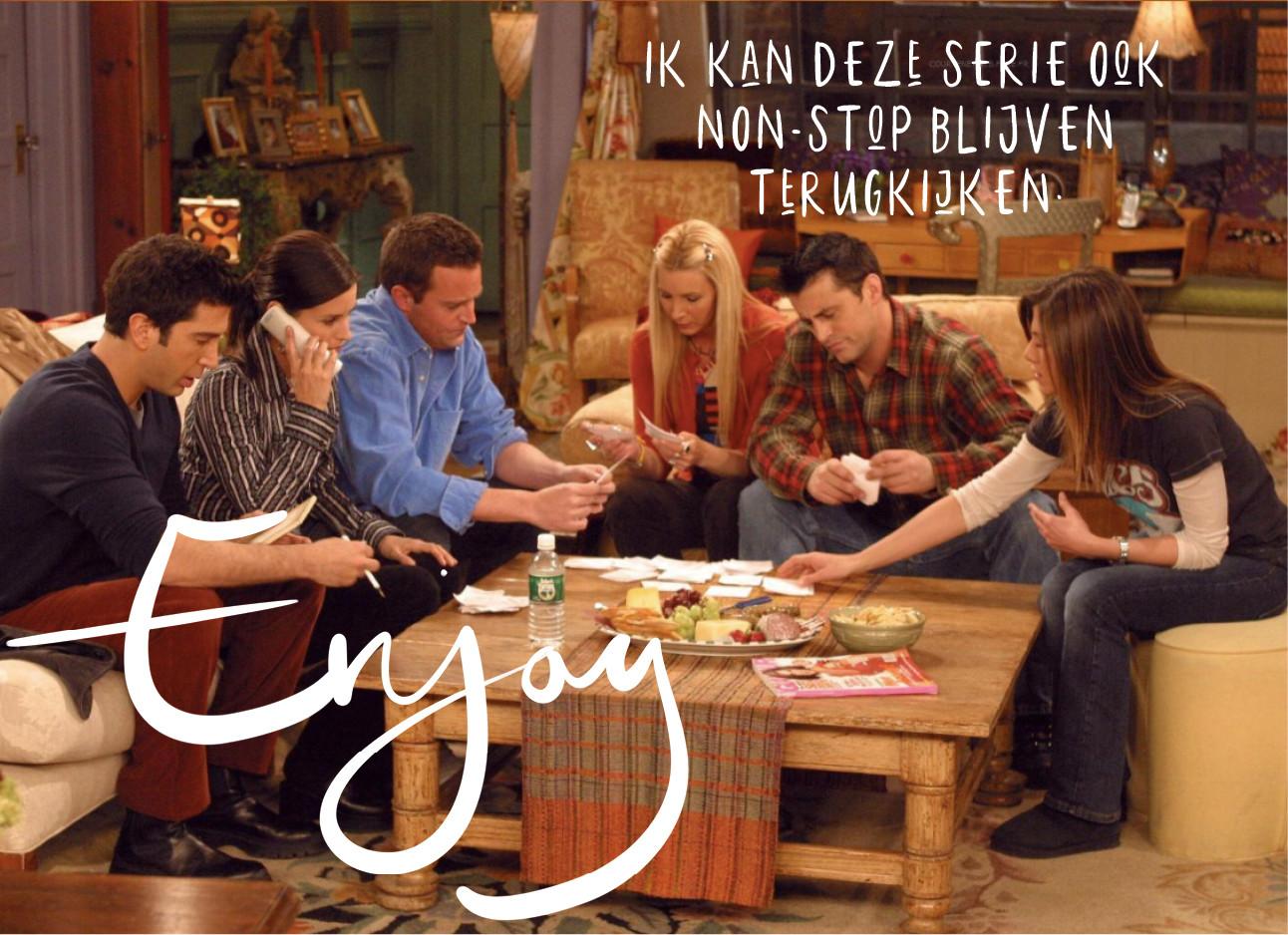 Een still uit de serie friends dat ze allemaal aan tafel zitten
