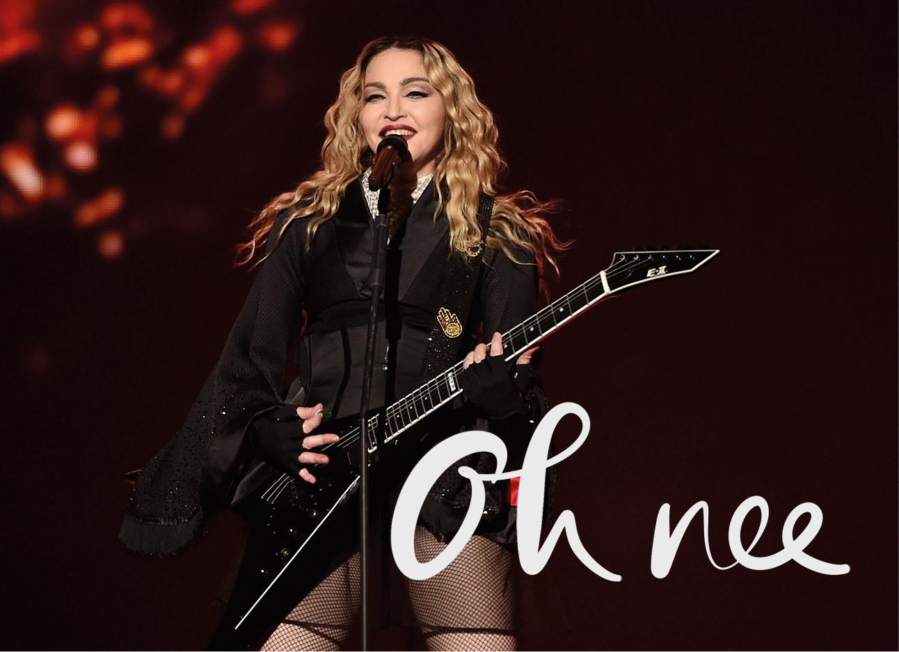 zingende madonna met gitaar