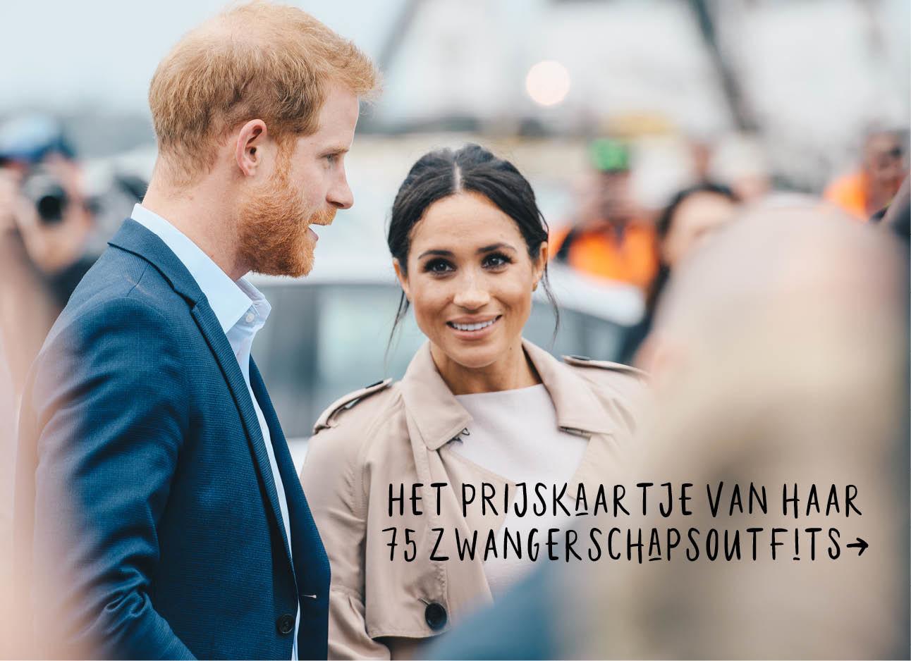 Meghan markle en prins harry, camel coat met beige jurk, donkerblauwpak met lichtblauw overhemd, het prijskaartje