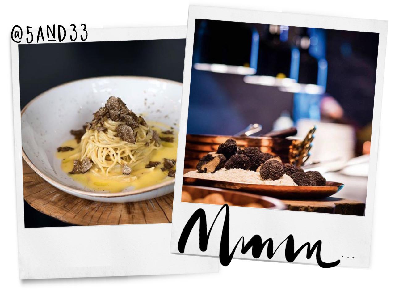 2 foto's met eten van truffel erop