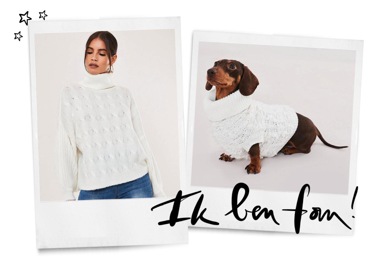 een meisje die een witte trui draagt en matcht met haar hond