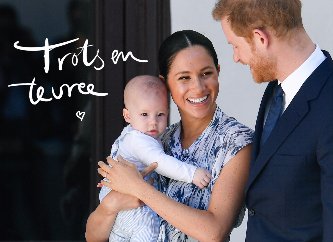 Meghan Markle, Prince Harry en Archie lachend op de foto