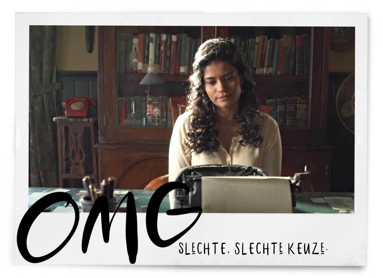 typewriter op netflix horrorfilm, vrouw achter een typemachine in india
