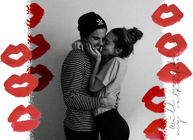 Een geliefde koppel die valentijn viert