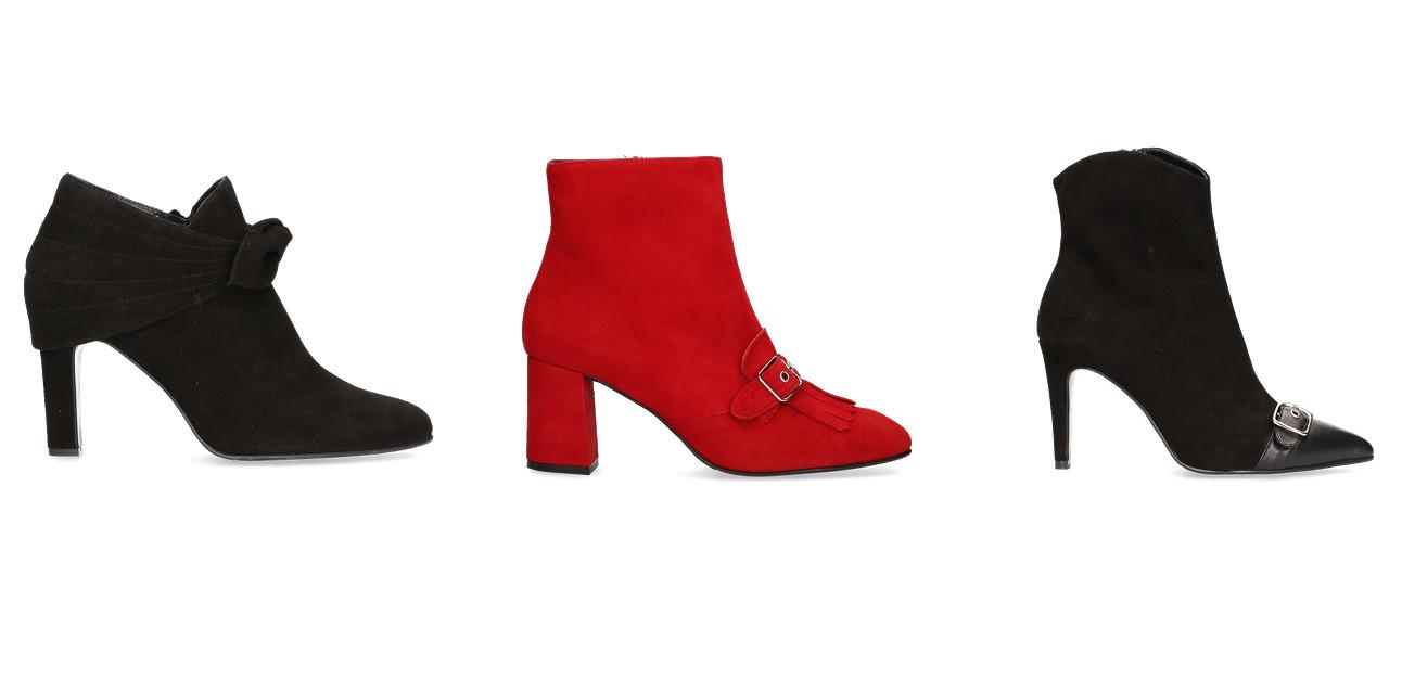een bordeau schoen met hak een knal rode schoen met hak en een zwarte hoge schoen met hak