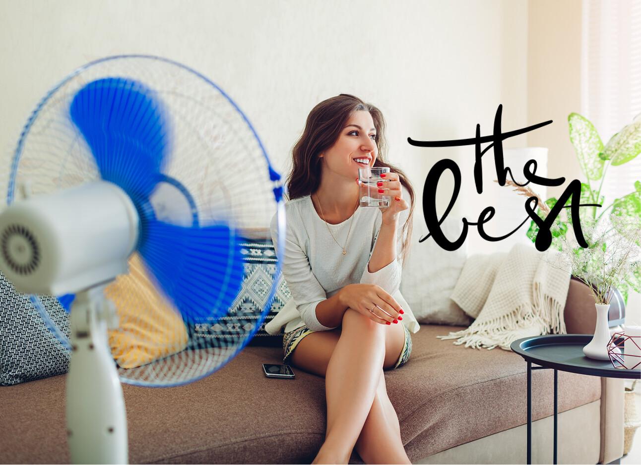 ventilator en vrouw verkoeling