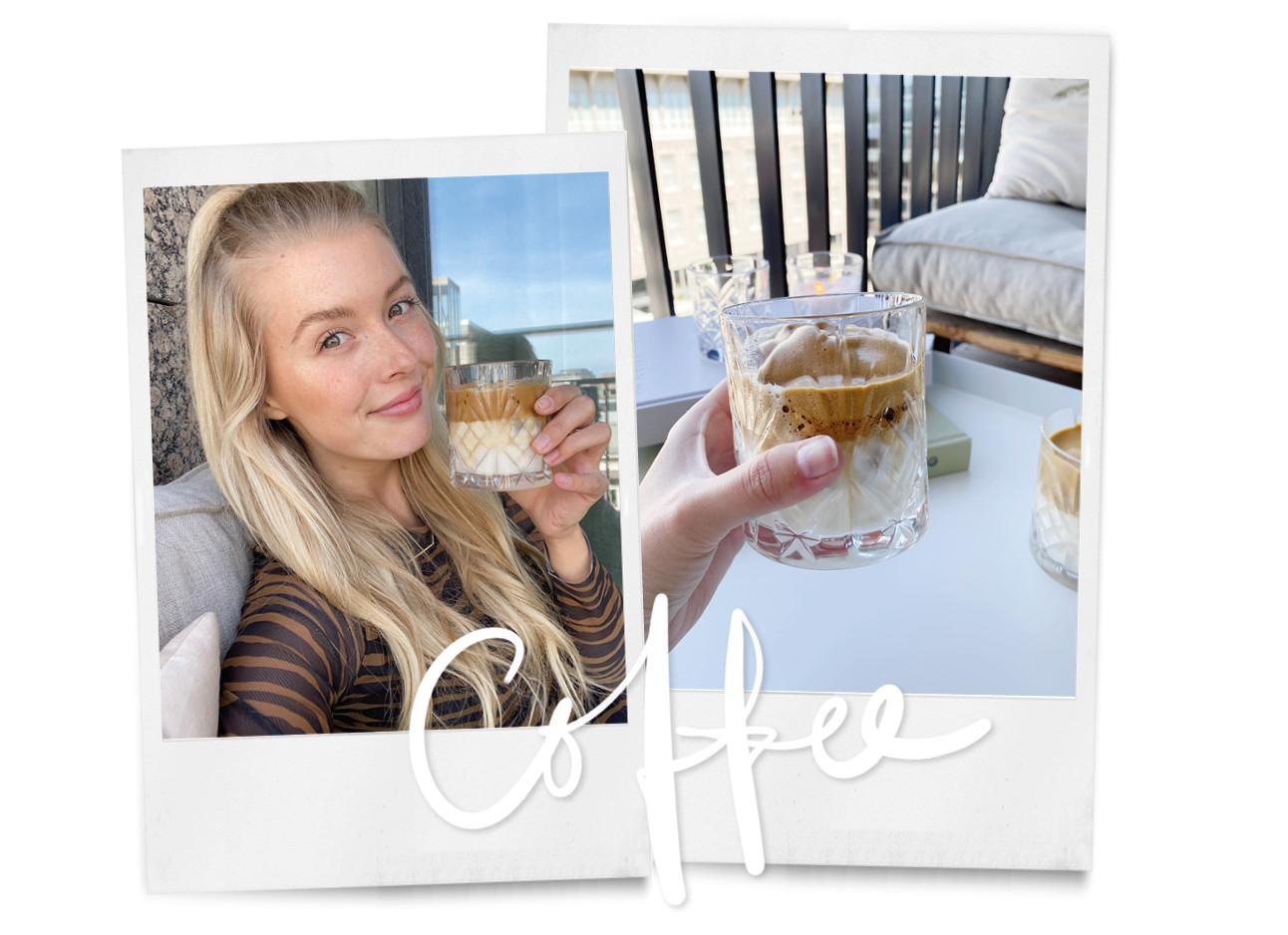 annabelle lachend op haar balkon met een fluffy coffee