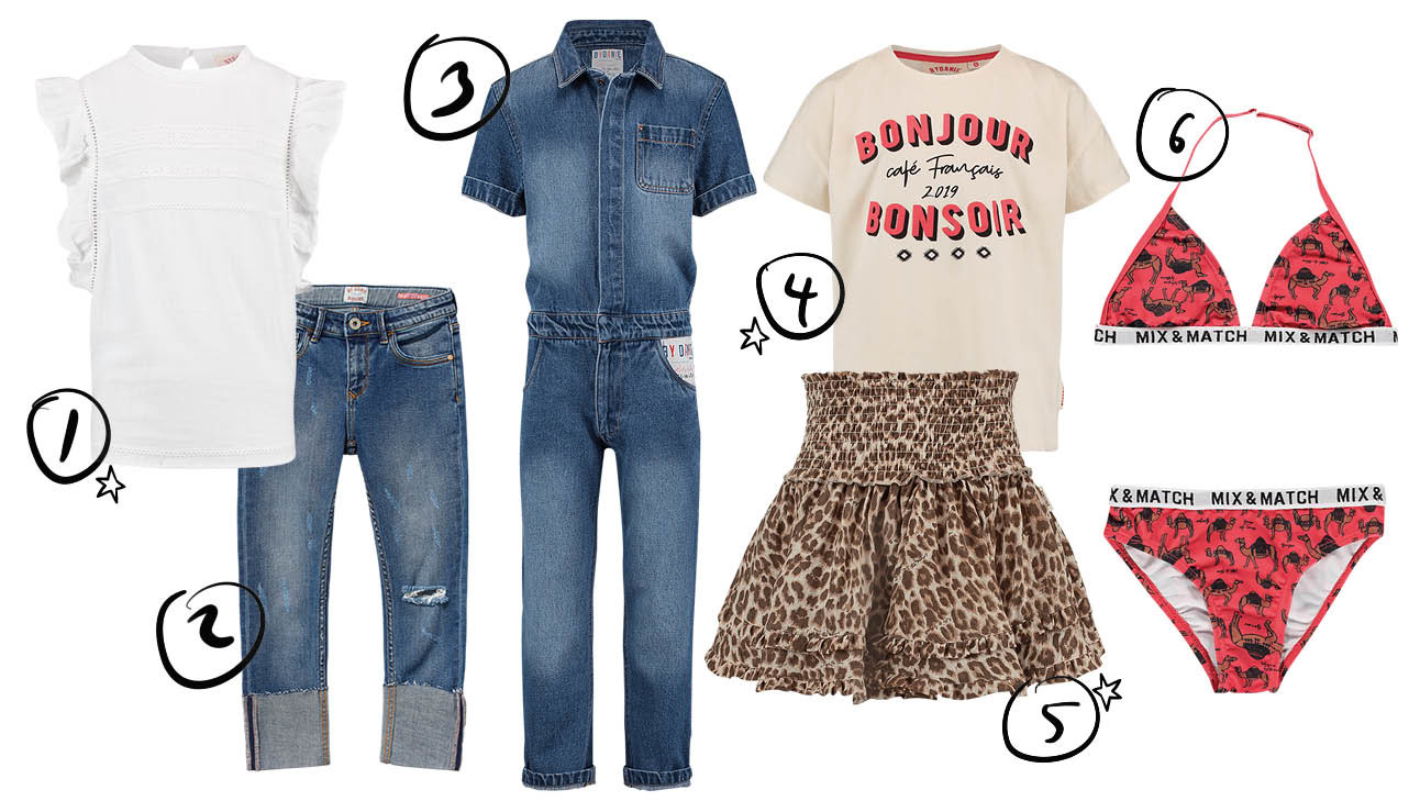 vingino x ByDanie kledinglijn jeans rokje bikini meisjes blouse wit