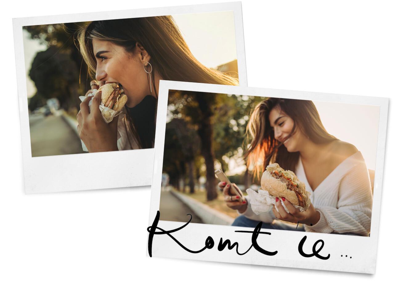 vrouw eet een hamburger