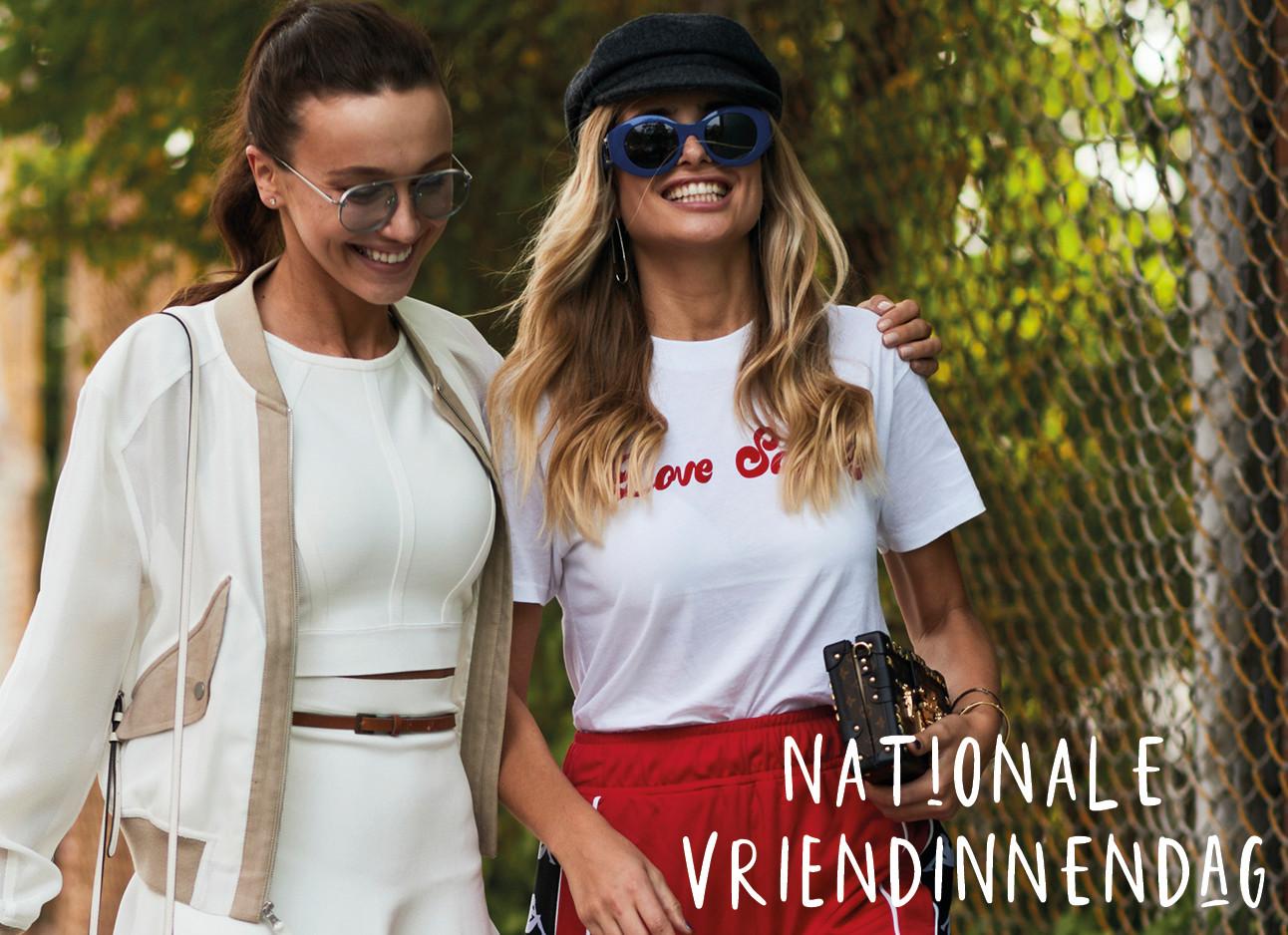 meisje in creme en meisje met rood rokje en wit shirt
