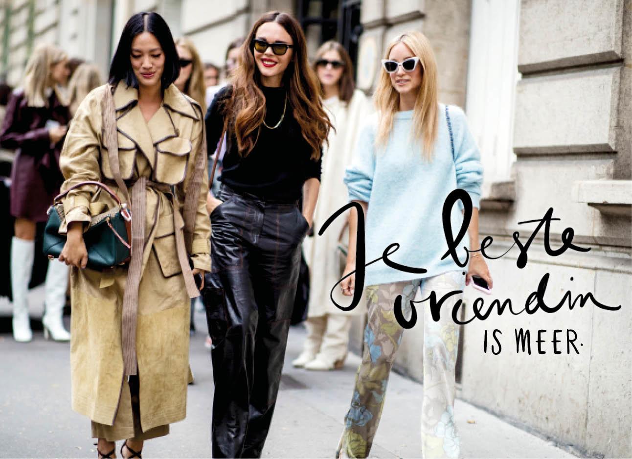 Drie vrouwen op straat streetwear foto mode tijdens fashion week