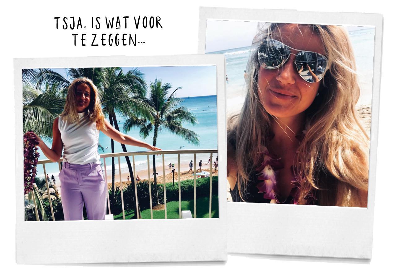 Tessa in paarse broek en zonnebril op vakantie in een zonnig land