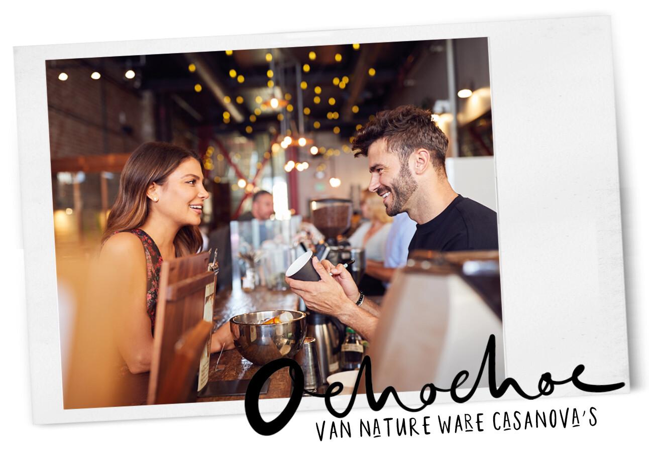 vrouw en man aan het flirten in koffie tentje