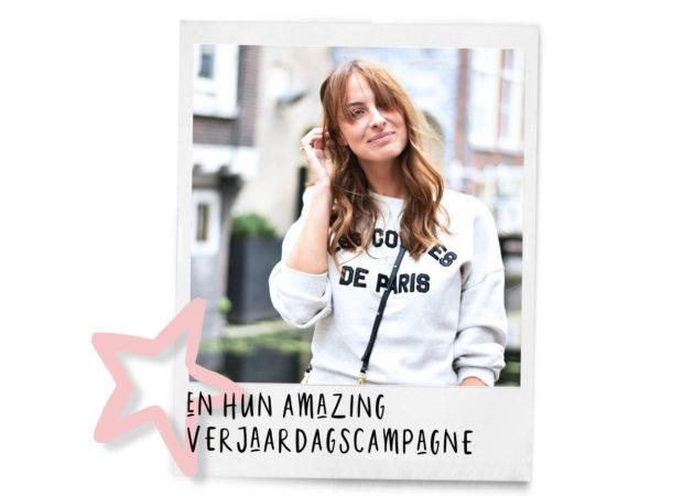 lilian brijl in een witte trui lachen, ster, en hun amazing verjaardagscampagne