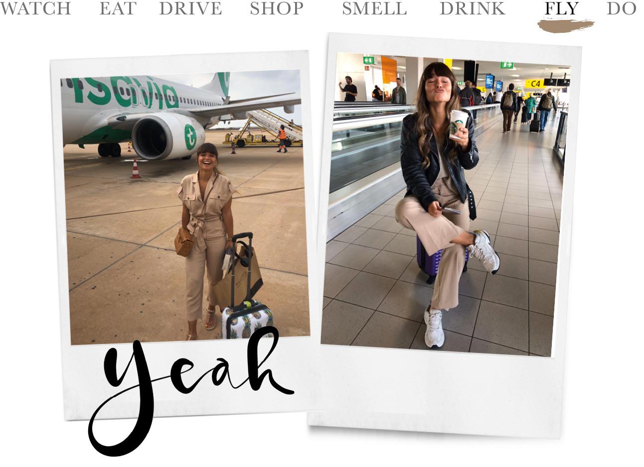 Kiki die op het vliegveld zit op een kofer