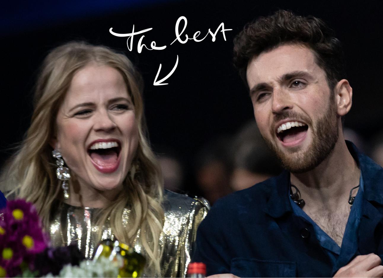 ilse de lange en duncan laurence juichen bij de winst van nederland bij het eurovision songfestival