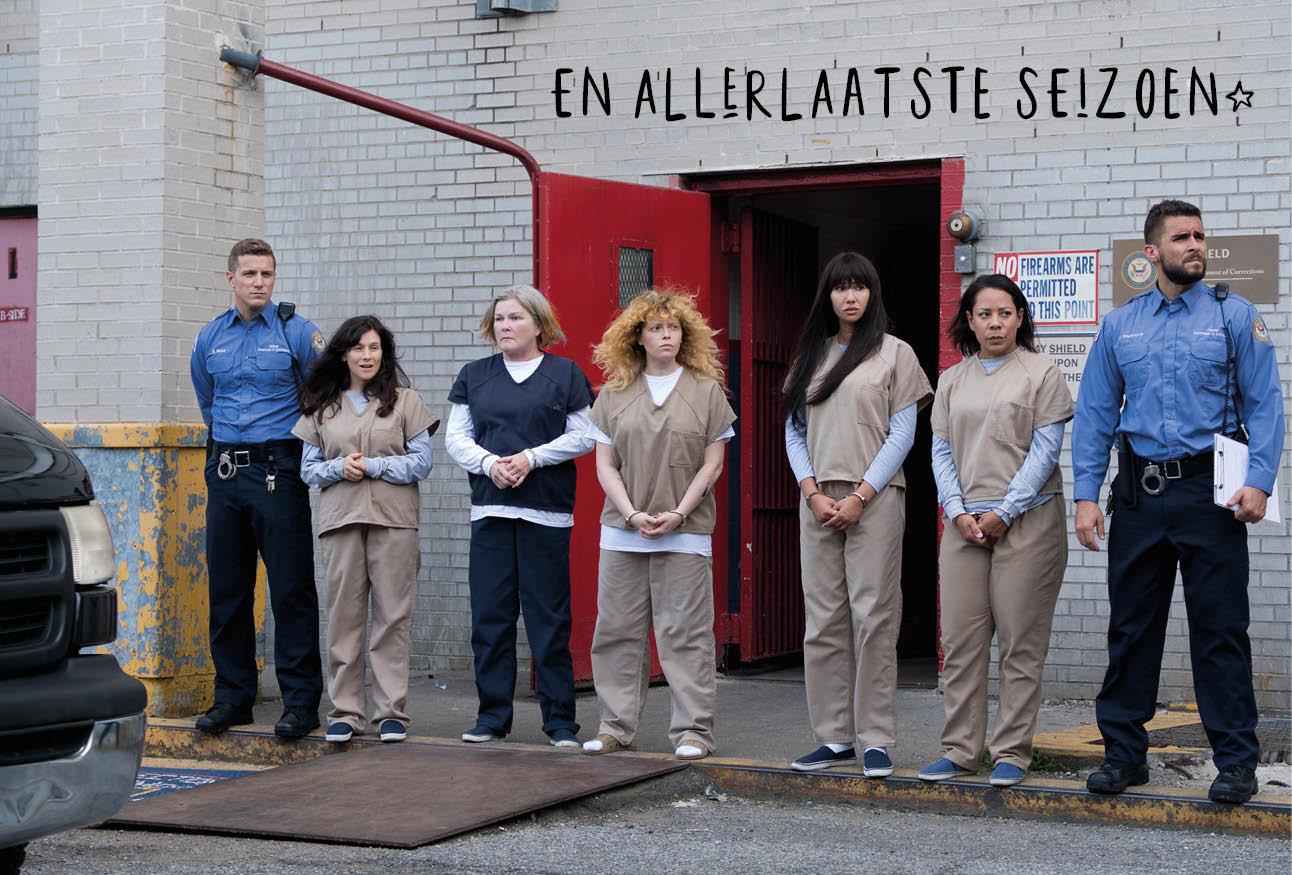 orange is the new black nieuw seizoen netflix actrices buiten op straat met politie
