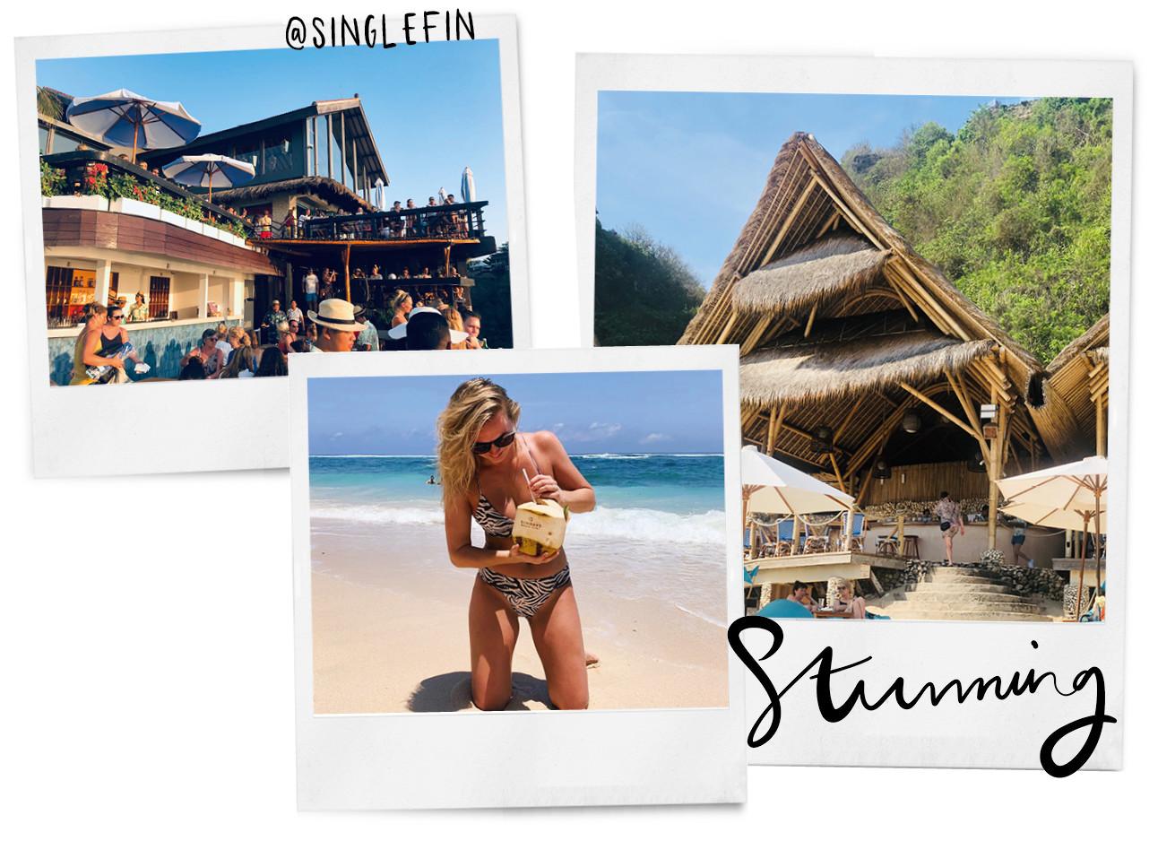 vakantie foto's van wieke in bali. ! van een restaurant, 1 van wieke met een kokosnoot op het strand en 1 van het huisje waar ze sliepen