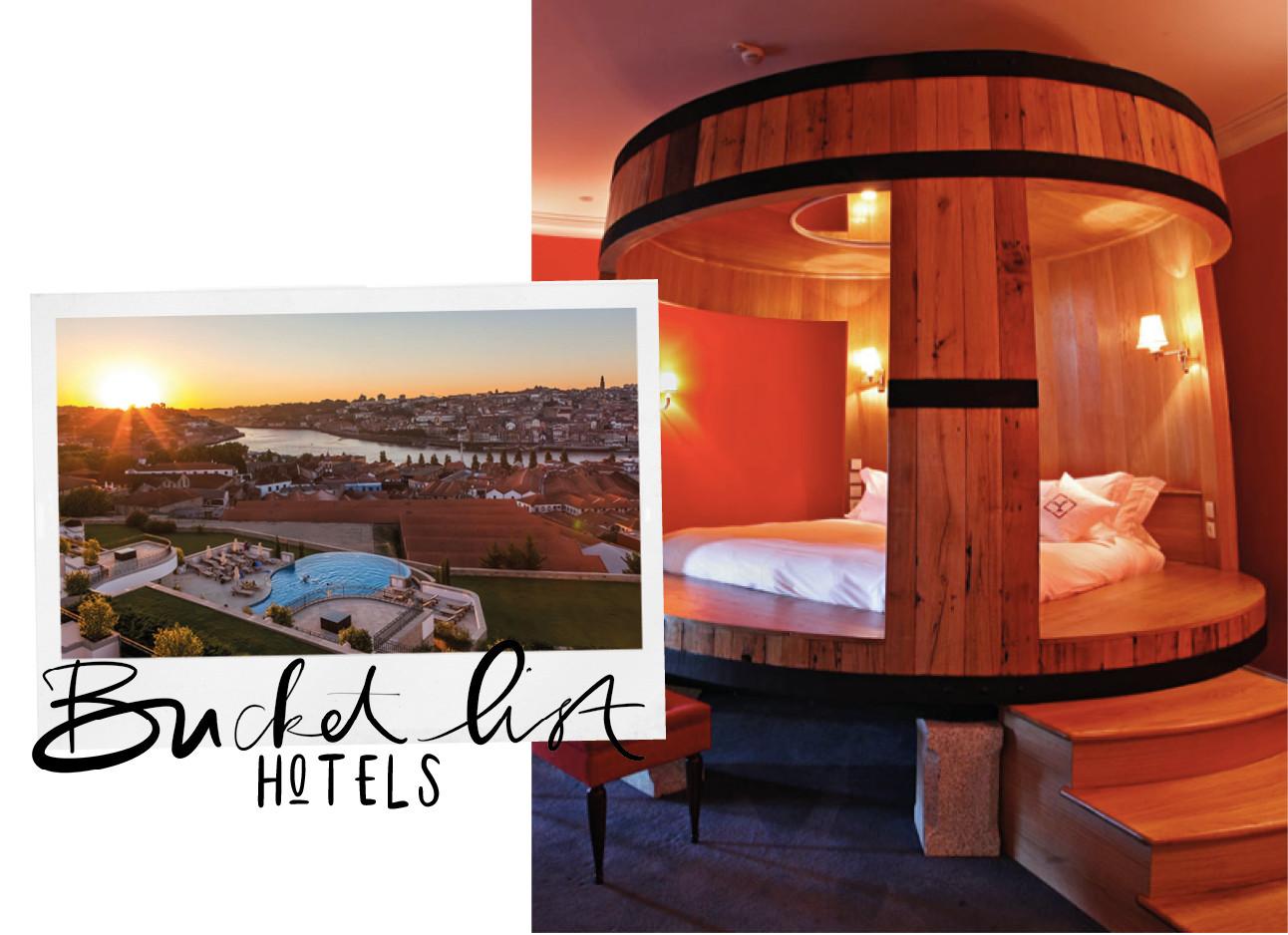 beeld van en hotel met een bed in de vorm van een wijnvat