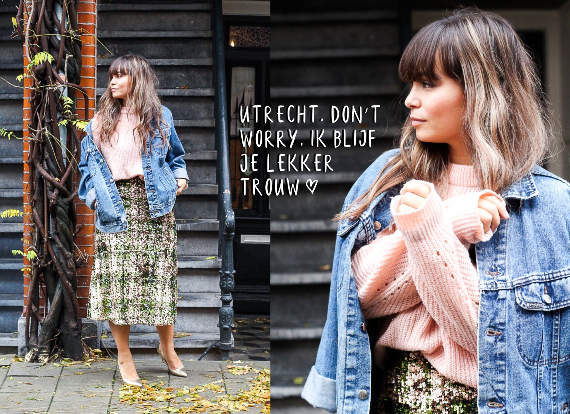 kiki duren in Amsterdam met een glanzende rok spijkerjack en roze trui
