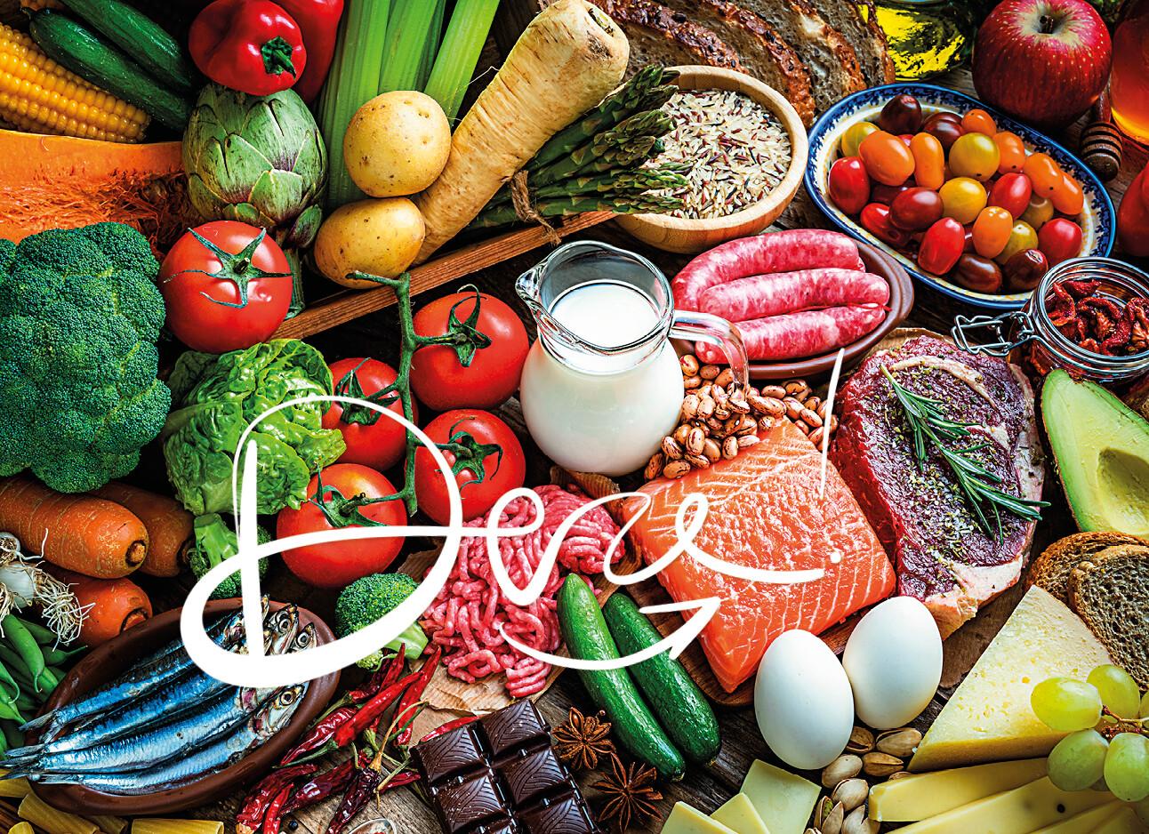 groente fruit zalm vis vlees