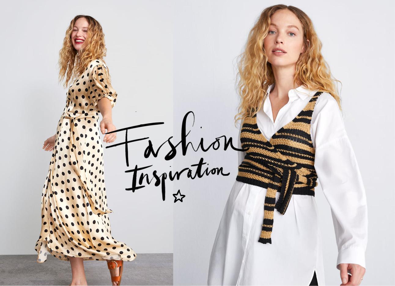 zara mum collectie zwanger model in jurk en blouse met top erover heen tekst fashion inspiration