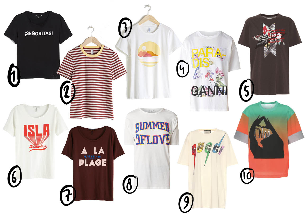 tshirts shopping Ganni Gucci &Other Stories fashion trends
