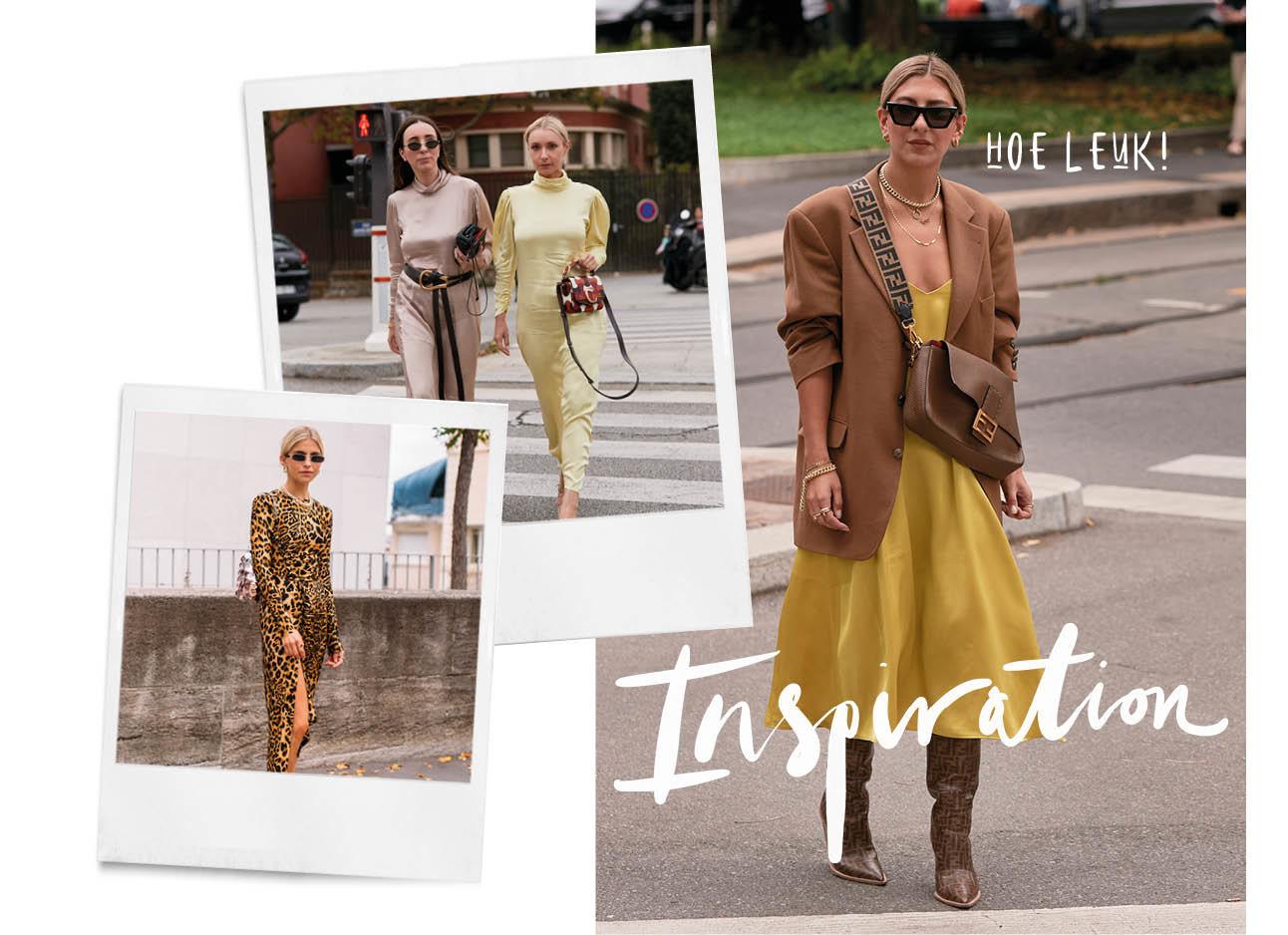 vrouw streetwear modemeisjes fashion rok zonnebril geel jasje tasje