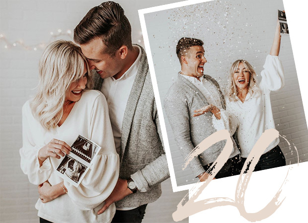 future mom and dad holding echo foto's